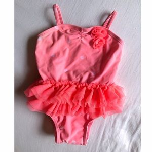 Baby Girl Coral One-Piece Swimsuit w/ Tulle Skirt
